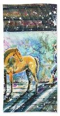 Bath Towel featuring the painting Summer Morning At The Barn by Zaira Dzhaubaeva