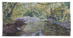 Bath Towel featuring the painting Summer On The South Tow River by Joel Deutsch
