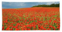 Summer Poppies In England Bath Towel