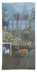 Hand Towel featuring the painting Summer Rain by Virginia Coyle