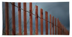 Bath Towel featuring the photograph Summer Storm Beach Fence by Laura Fasulo