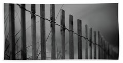 Bath Towel featuring the photograph Summer Storm Beach Fence Mono by Laura Fasulo