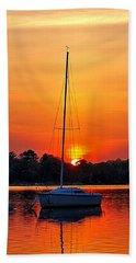 Summer Sunset At Anchor Hand Towel