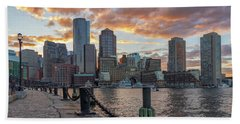 Summer Sunset At Boston's Fan Pier Hand Towel