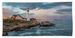 Summer Sunset At Portland Head Light Hand Towel