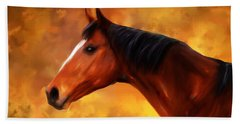 Summers End Quarter Horse Painting Hand Towel