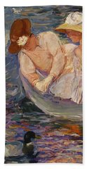 Bath Towel featuring the painting Summertime By Mary Cassatt 1894 by Movie Poster Prints