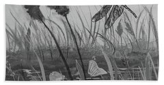 Hand Towel featuring the painting Summertime Dragonfly Black And White by Robin Maria Pedrero