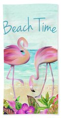 Summertime Flamingos 2 Hand Towel
