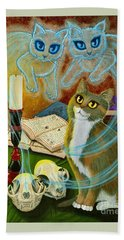 Hand Towel featuring the painting Summoning Old Friends - Ghost Cats Magic by Carrie Hawks