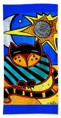 Sun And Moon - Honourable Cat - Art By Dora Hathazi Mendes Hand Towel by Dora Hathazi Mendes
