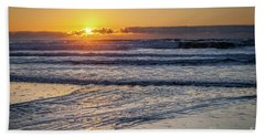Sun Behind Clouds With Beach And Waves In The Foreground Hand Towel