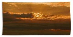 Sun Behind Dark Clouds In Vogelsberg Bath Towel