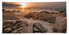Sun Coming Over The Rocks  Bath Towel
