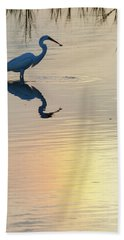 Hand Towel featuring the photograph Sun Dog And Great Egret 2 by Rob Graham