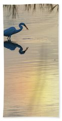 Hand Towel featuring the photograph Sun Dog And Great Egret 3 by Rob Graham