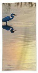 Hand Towel featuring the photograph Sun Dog And Great Egret 4 by Rob Graham
