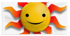 Hand Towel featuring the digital art Sun Face No Background by John Wills