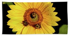 Sunflower And Bees Hand Towel by Nancy Landry