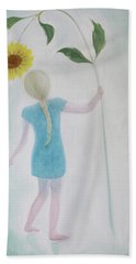 Hand Towel featuring the painting Sun Flower Dance by Tone Aanderaa