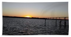 Sun Going Down Near Gov Thomas Johnson Bridge Bath Towel