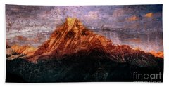 Sun Kissing The Mountain Tops Hand Towel