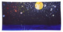 Bath Towel featuring the painting Sun Moon And Stars by Donna Blossom