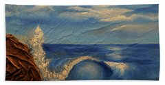 Bath Towel featuring the mixed media Sun Over The Ocean by Angela Stout