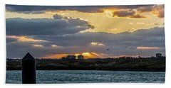 Sun Rays Over The Intracoastal  Hand Towel by Nance Larson