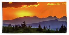 Bath Towel featuring the painting Sun Rising by Harry Warrick