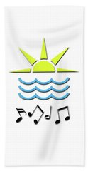Hand Towel featuring the digital art Sun, Sea And Music by Linda Prewer