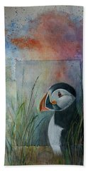 Sun Set Puffin Hand Towel
