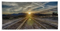 Sun Sets At The End Of The Line Bath Towel