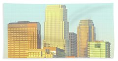 Sun Sets On Downtown Los Angeles Buildings #2 Hand Towel