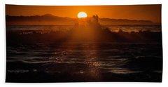 Sun Setting Behind Santa Cruz Island Hand Towel by John A Rodriguez