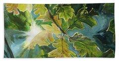 Sun Through Oak Leaves Hand Towel