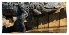 Sunbathing Gator Hand Towel by Carolyn Marshall