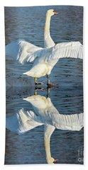 Sunbathing Swans Hand Towel
