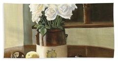Bath Towel featuring the painting Sunday Morning And Roses - Study by Marlene Book