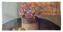 Bath Towel featuring the painting Sunday Morning Roses Through The Looking Glass by Marlene Book