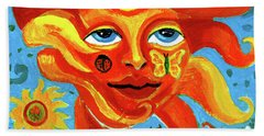 Bath Towel featuring the painting Sunface With Butterfly And Horse by Genevieve Esson