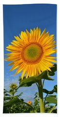 Sunflower Against Clear Blue Sky Bath Towel