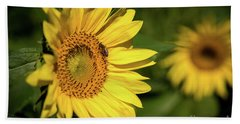 Bath Towel featuring the photograph Sunflower And Bee by Sandy Molinaro