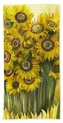 Hand Towel featuring the mixed media Sunflower Bouquet by Carol Cavalaris