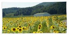 Sunflower Field Hand Towel by Annlynn Ward
