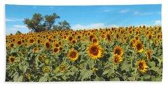 Sunflower Field One Hand Towel by Barbara McDevitt