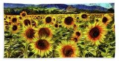 Sunflower Field Van Gogh Bath Towel