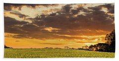 Sunflower Fields Sunset Bath Towel