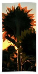 Bath Towel featuring the photograph Sunflower Greeting  by Chris Berry