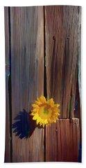 Sunflower In Barn Wood Hand Towel